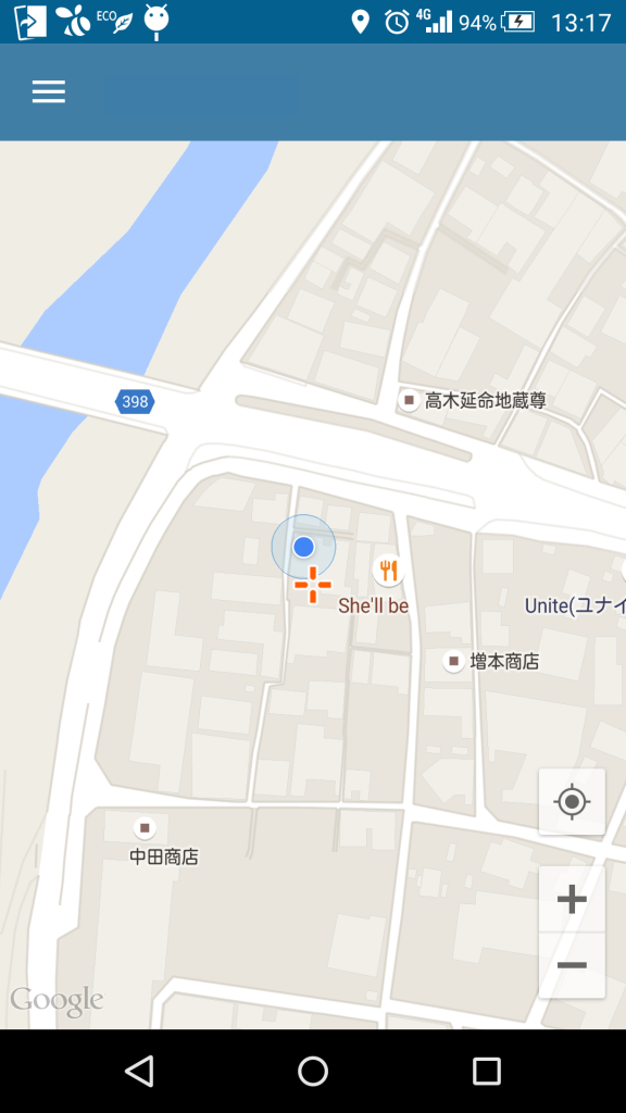 GoogleMapの現在地表示ぼたん位置変更